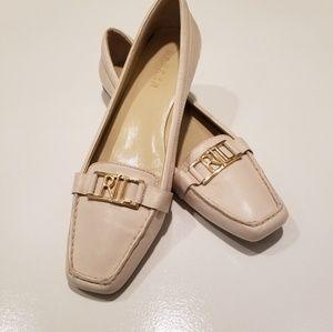 Lauren Ralph Lauren cream real leather loafers
